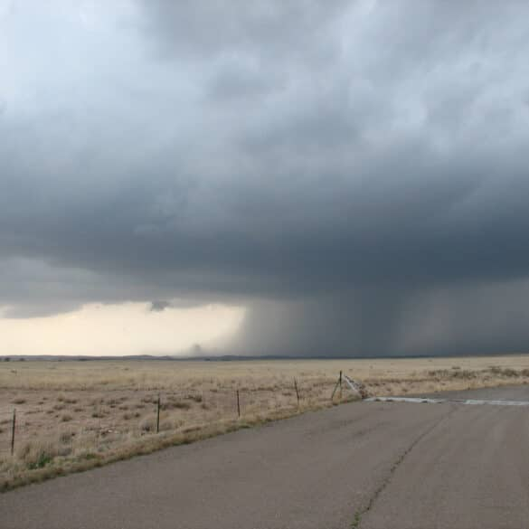 Rainfoot off storm near Roswell, New Mexico