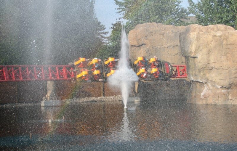 Water Canons shoot as the Maverick train goes by at Cedar Point