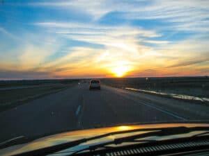 Sunset along I-90 in South Dakota