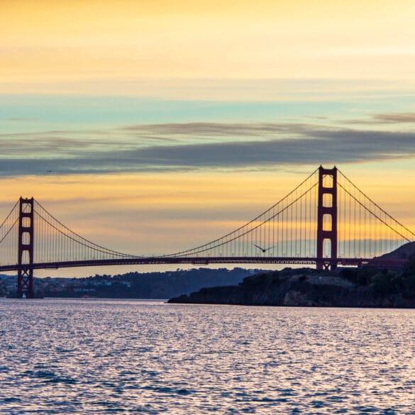 The Golden Gate Bridge in San Francisco at dusk.