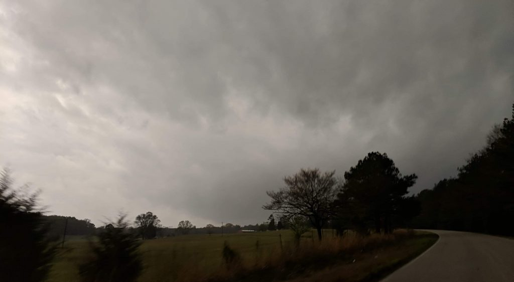 A supercell with a long-tracked strong tornado near Ashby, Alabama on March 25, 2021