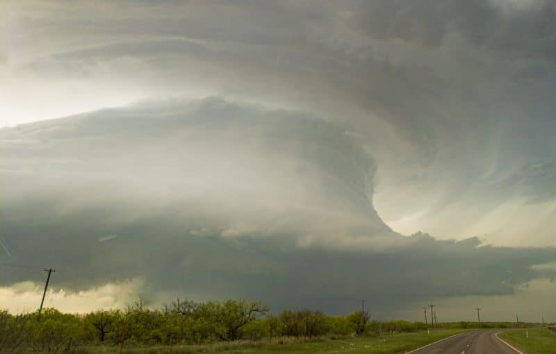 Sculpted supercell updraft near the town of Electra in Western North Texas
