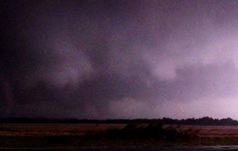 Tornado with satellite tornado near Clinton, Oklahoma after dark on October 12, 2021