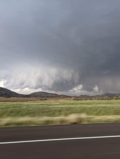 A supercell over the Wichita Mountains near the town of Roosevelt on October 10, 2021.